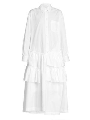 Popeline Tiered Shirtdress