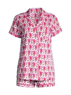 Monkey Print 2-Piece Pajama Set