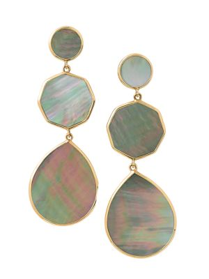 Polished Rock Candy 18K Yellow Gold & Brown Shell Crazy 8's Post Earrings