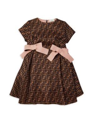Little Girl's & Girl's Neoprene All Over Logo Dress