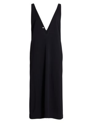 Deep V-Neck Midi Dress