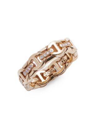 Wall Dame Tri-Link 18K Yellow Gold & Diamond Ring