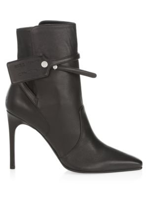 Zip-Tie Leather Ankle Boots