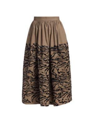 Sage Sequin Tiger Print Midi Skirt