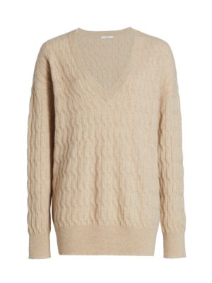 Cable Knit V-neck Cashmere Sweater