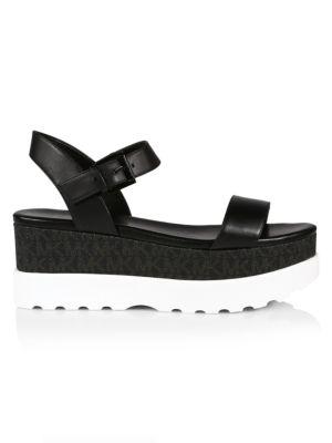 Marlon Logo Leather Flatform Sandals