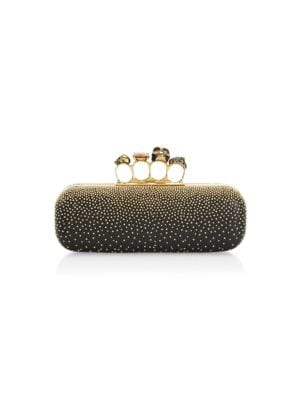 Skull Four-Ring Beaded Leather Long Box Clutch