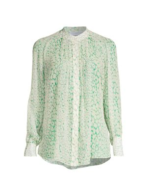 Perce Long-Sleeve Button-Up Silk Blouse