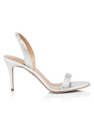 So Nude Crystal-Embellished Metallic Leather Slingback Sandals