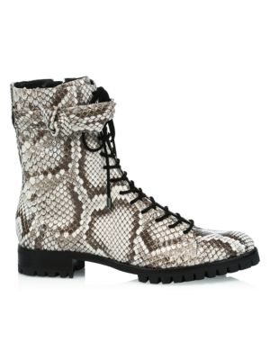 Evelyn Python Combat Boots