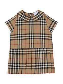 버버리 여자 아기용 체크 시프트 원피스 Burberry Babys & Little Girls Peggy Checkered Shift Dress,Beige