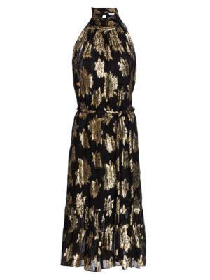 Laza Floral Lurex Jacquard Midi Dress