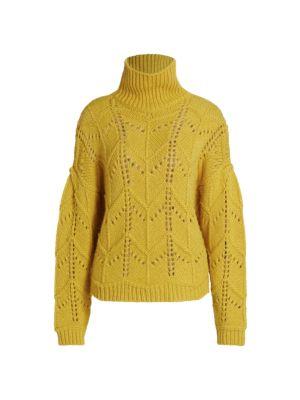 Lovey Turtleneck Open-Stitch Sweater