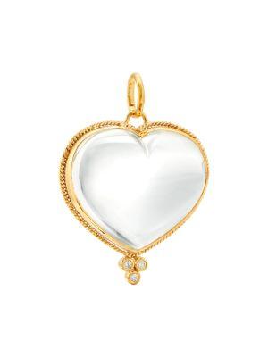 18K Yellow Gold, Diamond & Rock Crystal Braided Heart Large Pendant