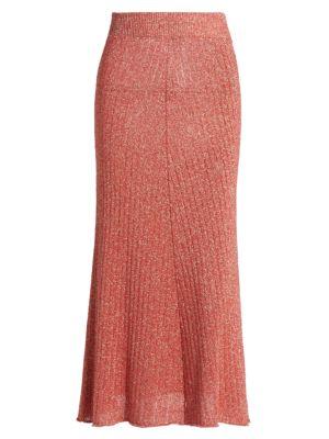 Metallic Ribbed Sheer Knit Skirt