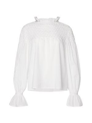 Majorelle Hand-Smocked Cotton Blouse