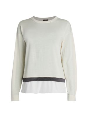 Contrasting Hem Crewneck Sweater