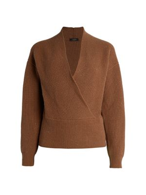 Laminated Cross-Front Wrap Sweater