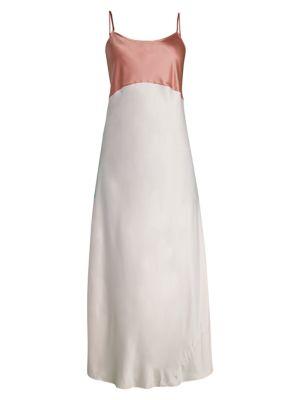 Camille Silk-Blend Colorblock Slip Dress