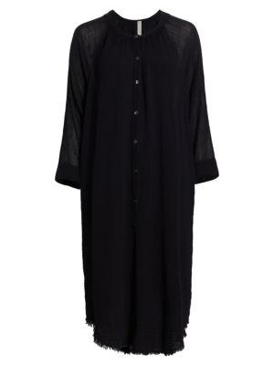 Poet Frayed Trim Button-Front Dress