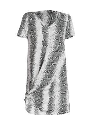 Leonardo Twist-Hem Snakeskin T-Shirt Dress