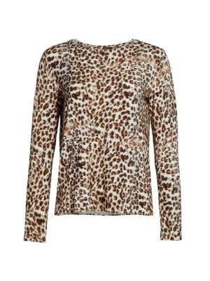 Animal Print Cashmere-Blend Top