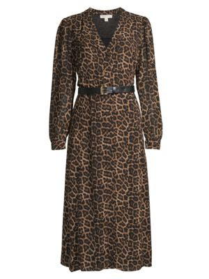 Leopard-Print Belted Shirtdress