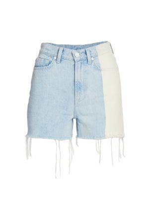 HIgh-Waist Fray Hem Denim Shorts