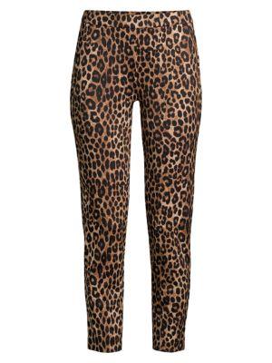 Leopard-Print Cropped Ponte Pants