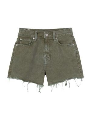 High-Rise Fray Hem Shorts