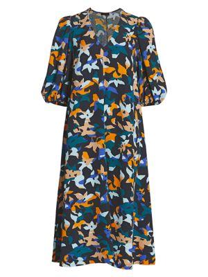 Mavelin Abstract Floral Midi Dress
