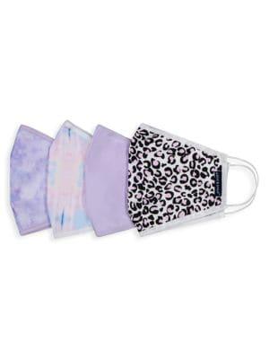 4-Pack Tie-Dye Animal-Print Cotton Face Mask Set