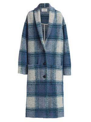Elayo Long Plaid Wool-Blend Coat