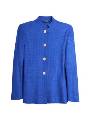 Button-Front Tailored Knit Jacket