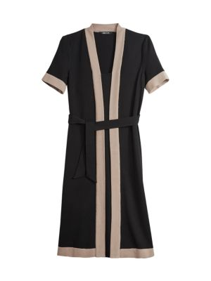Contrast Trim Knit A-Line Dress