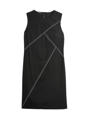 Contrast Stitch Ponte Sheath Dress