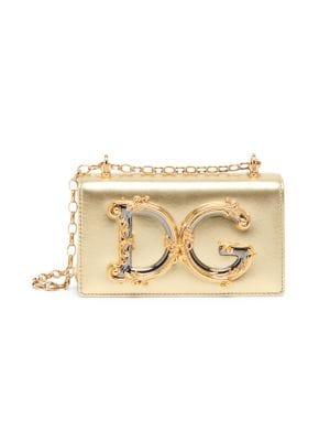 D & G Girls Metallic Leather Crossbody Phone Case