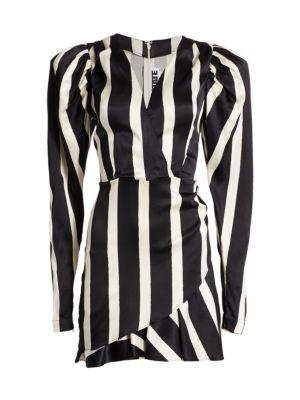 Aiken Puff-Sleeve Stripe Wrap Dress