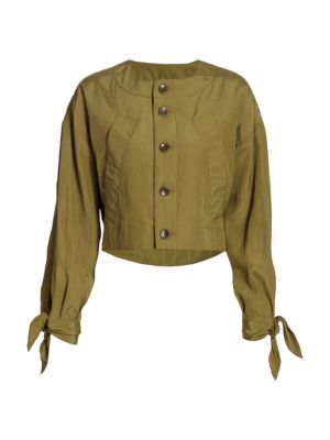 Textured Parachute Cropped Jacket
