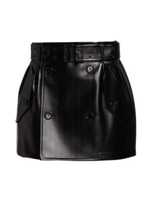 Faux Leather Double Breasted Mini Skirt