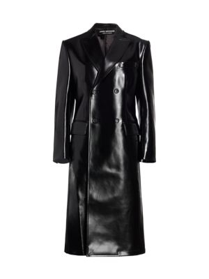 Double Breasted Faux Leather Long Jacket