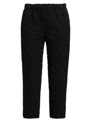 Textured Pull-On Cropped Pants