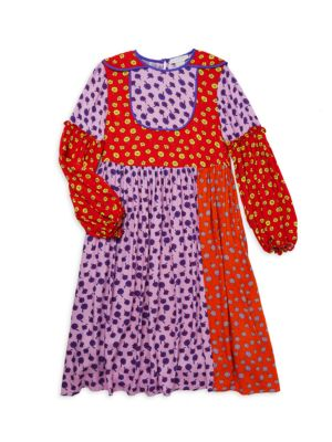 Little Girl's & Girl's Floral Patchwork Midi Dress