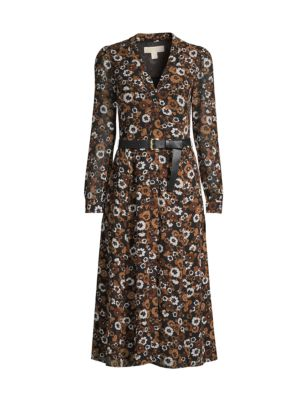 Floral Belted Midi Shirtdress