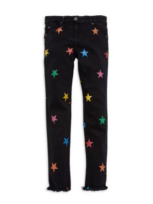 Little Girl's & Girl's Star-Print Raw-Edge Jeans