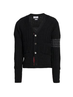 Stripe Aran Cable-Knit Merino Wool Cardigan