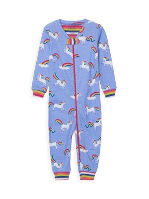 Baby Girl's Unicorn Zip Coverall