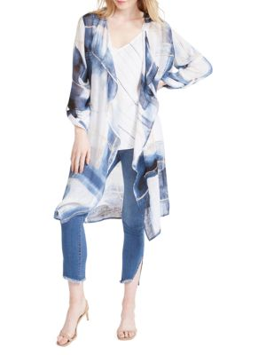 Abstract Grid Linen Cardigan