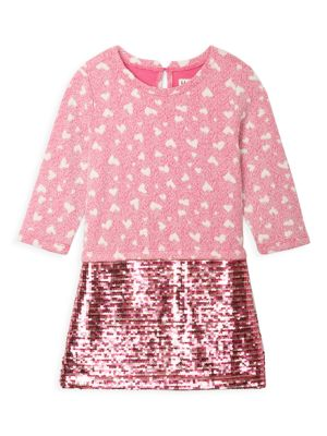 Little Girl's & Girl's Quilted Hearts Sequin T-Shirt Dress