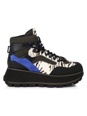 Sonic Leopard-Print Calf-Hair Hiking Boots